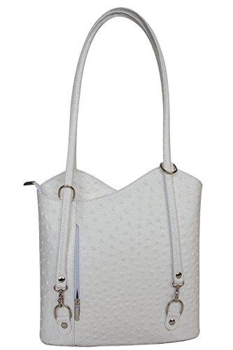Rucksack Handtaschen 2 in 1 Damentaschen Ledertasche Lederrucksack Designer Luxus Henkeltasche mit Blumenmuster Tasche aus Echt Leder (Weiß Pur genoppt) (Designer-handtasche Blume)