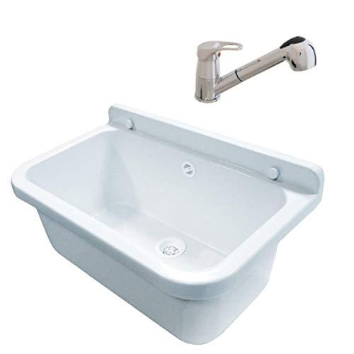 Lavabo 55 cm x 34 cm x 21 cm lavabo con troppopieno lavabo per attività commerciali lavabo da giardino dispenser di sapone rubinetto Atut con granulato di scarico, Bianco