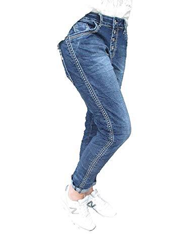 Karostar Stretch Baggy Boyfriend Jeans Nieten Seitenstreifen (M-38, Denim) Damen Baggy Jeans