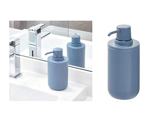 iDesign Seifenspender, runder Lotionspender aus Kunststoff für Bad und Küche, nachfüllbarer Flüssigseifenspender für 355 ml Seife oder Lotion, blau -