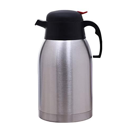 Isolierte Kaffee-spender (Vakuum-Isolierkanne, Edelstahl Vakuumflasche für heiße kalte Tee Kaffee Isolierte Spender Air Pot mit Sicherheitsdruckknopf 2L Tee Getränke)