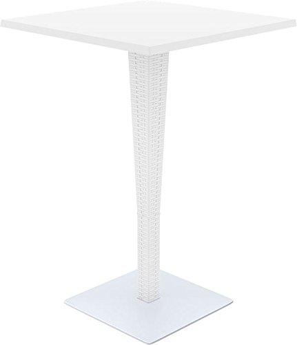 CLP Table d'Extérieur RIVA en Plastique - Table de Jardin Mange-debout - Plateau Carré 70 x 70 cm et Hauteur 108 cm - Idéale pour le Bar, Terrasse, Jardin - Couleurs au Choix : blanc