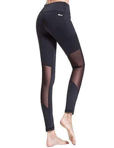 Croslimit Damen Yoga Leggings - Upgrade hoher bund Tummy Control - Hidden Pocket - Plus Size Sport Leggings Running Tights Training hose Casual Trousers (L, Schwarz(Mesh))