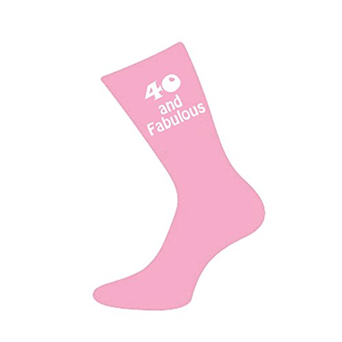 40 and Fabulous Pink Womens Socks for 40th Birthday Present