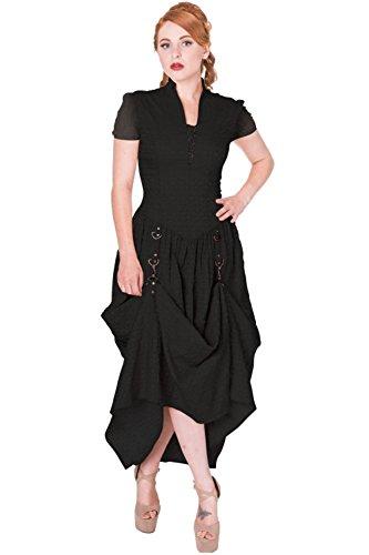 Banned Damen Gothic / Steampunk Maxi Kleid Kurzarm - Rise Of Dawn Dress Schwarz Schwarz