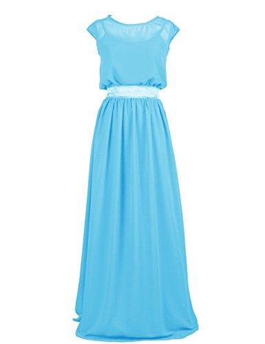 Dressystar Robe femme, Robe de soirée/ Cérémonie longue, simple, en Mousseline Bleu