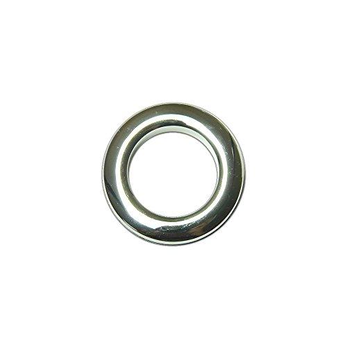 Oeillets à Clipser pour Rideaux Coloris Argent Brillant - diamètre 35 mm - Lot de 8