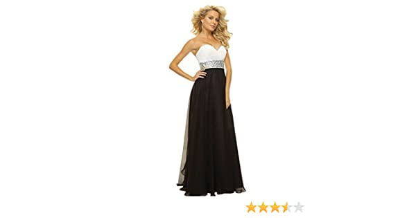 atopdress B8 BLACK WHITE EVENING prom sequined gown eveing dress (12, BLACK WHITE): Amazon.co.uk: Clothing