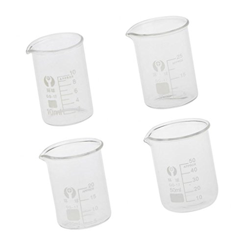 Baoblaze Niedrige Form Glas Messbecher Labor Glas Set - klar, 10ml 20ml 25ml 50ml