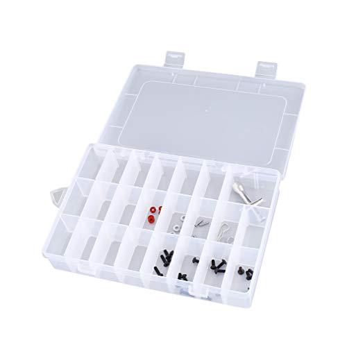 eegwbang 24 Slots Portable Tool Aufbewahrungskoffer Box Schraube Nail Craft Container Organizer Transparent -