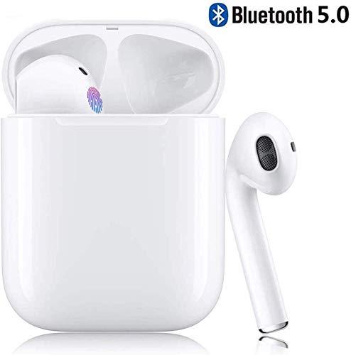 TAIN i11 Bluetooth kopfhörer 5.0, Touch-Steuertasten, kabellose Ohrhörer mit Schnellladekoffer, 3D-Stereoanlage und wasserdichte IPX5-Ohrhörer für Apple Airpods/iPhone/Huawei/Samsung -White
