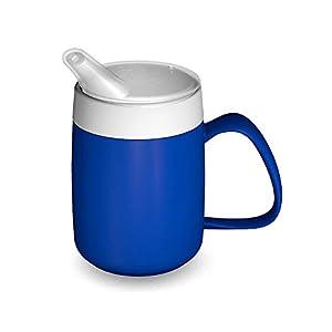 Ornamin Becher mit Trink-Trick 140 ml blau und Thermofunktion mit Schnabelaufsatz | Schnabeltasse 4.0 Trinken ohne den Kopf in den Nacken zu legen | Spezial-Trinkhilfe, Nasenbecher, Schnabelbecher