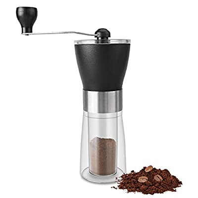 Manual Coffee Grinder, VOIMAKAS Infinitely Adjustable Coffee Grind with Conical Ceramic Burr, Glass Jar, Stainless Steel Built to Last, Quiet and Portable by VOIMAKAS