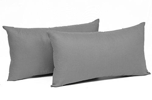 Dekokissen Kissenbezug (WOLTU® KB5149dgQ2 , 2x Kissenbezug Kissenhülle 100% Baumwolle mit Reissverschluss , 2er Set Sofakissen Dekokissen Bezug , Kopfkissen Hülle Bezüge Doppelpack , 50x70 cm , Dunkel Grau)