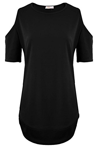 topstylefashion4u Neue Damen Cut Out Ärmel Lang T-Shirt Schulter Hi Lo Dip Saum Tunika Top Schwarz