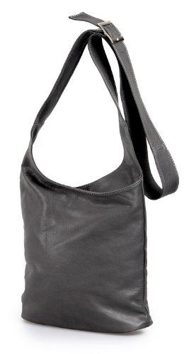 ital. Schultertasche Cross Bag echt Leder Nappaleder Damentasche Ledertasche grau , 24,5x28x8,5 cm (B x H x T) (Crossover Grau)
