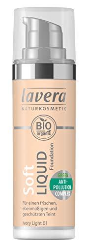 lavera Soft Liquid Foundation -Ivory Light 01- Fond de Teint Fluide ∙ Vegan ✔ Cosmétiques naturels ✔ Make up ✔ Ingrédients végétaux bio ✔ 100% Naturel Maquillage (30 ml)