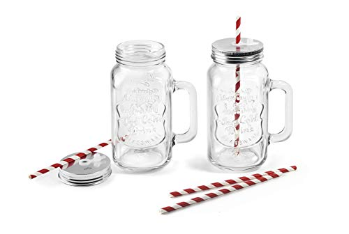bar@drinkstuff DS30435 transparente tapa y paja incluidos Paquete de 4 jaras de doble pared de pl/ástico