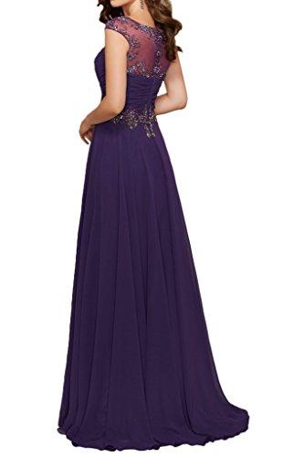 Promgirl House Damen Herrlich Lila Rosa Chiffon A-Linie Ballkleider Cocktail Abendkleider Lang Royalblau