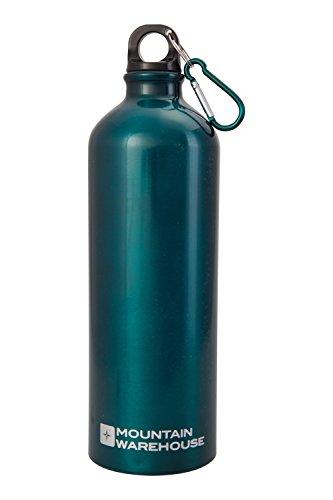 Mountain Warehouse 1L Metallic Bottle with Karabiner - Metallic Finish Water Bottle, Aluminium Drink Bottle, Leakproof Rubber Seal Water Jug, Carabiner - For Gym, Sports Teal