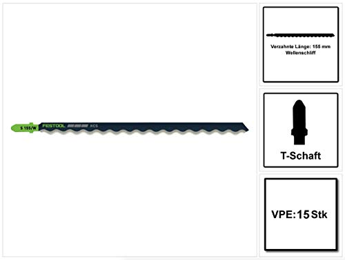 Festool S 155/W/15 Building Materials Insulation Stichsägeblatt 15 Stk. (5x 204345) für weiche Dämmstoffe, HCS Stahl