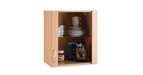 Küchenschrank Hängeschrank Oberschrank TOMMI 13 | Braun | Dekor | Glas | Buche