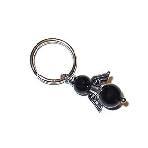 Engel Anhänger für Tiere mit schwarzen Turmalin Perlen Schutzengel Anhänger aus Edelstahl