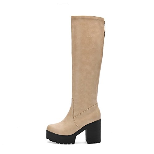 AgooLar Damen Hoher Absatz Weiches Material Hoch-Spitze Rein Reißverschluss Stiefel, Cremefarben, 36