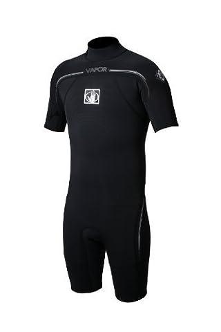 Body Glove Mens 2/1mm Vapor Short Sleeve Back Zip Springsuit Wetsuit, Black, XX-Large by Body Glove Wetsuit Co.