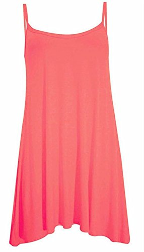 Chocolate Pickle ® Neue Frauen Plus Size Cami Strappy Plain Tops Lange Swing-Kleid 36-54 Coral
