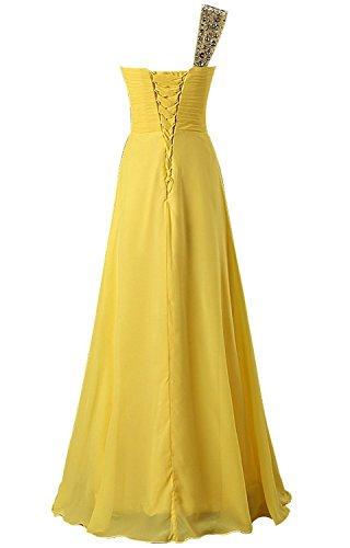CoutureBridal® Robe en Chiffon Robe de Soirée de Demoiselle d'Honneur Longue Asymetrique Une Épaule Pailleté Jaune