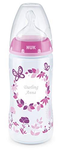 Biberon NUK First Choice+ con incisione personale, tettarella particolarmente morbida in silicone, 300 ml, 6-18 mesi, rosa