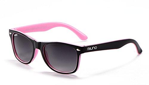Miuno® Kinder Sonnenbrille Polarisiert Polarized Wayfare für Jungen und Mädchen Etui 6833a (Schwarz/Rosa)