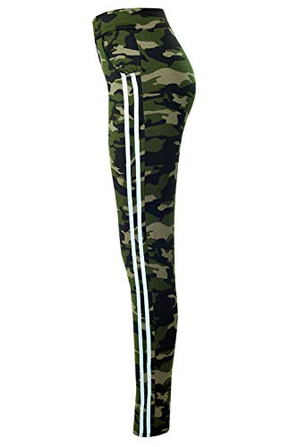 Bongual Damen Thermo Leggings Winter Fell-Leggings Army Military Hose Tarn CamouflageTreggings 36-42 (36/38 (S/M), Grün/Weiß)