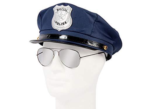 Set di Travestimento da Poliziotto | Blu | KV-132 | 2 Pezzi | Cappello, Occhiali da Sole | per Carnevale | Halloween | Festa a Tema | Adulti | Uomo | Donna