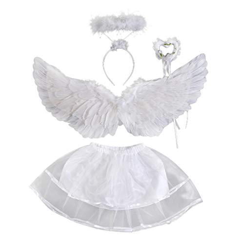 Petalum Mädchen Kinder Weiß Engel Kostüm, Engelsflügel Feen Federflügel, Heiligenschein mit Haarreif, Herz Zauberstab, Rock (Childs Weiße Fee Kostüm Flügel)