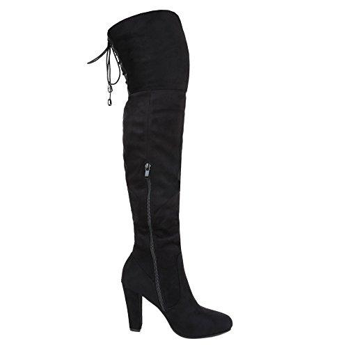Overknee Stiefel Damenschuhe Klassischer Stiefel Pump Overknee Reißverschluss Ital-Design Stiefel Schwarz