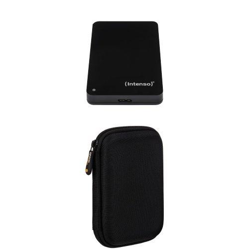 Intenso Memory Case 500 GB Externe Festplatte (6,35 cm (2,5 Zoll) 5400 U/min, 8 MB Cache, USB 3.0) schwarz und AmazonBasics Schutzhülle für externe Festplatten
