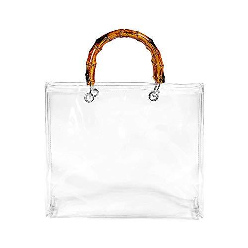 La borsa trasparente del PVC delle donne, porta di bambù della borsa della gelatina della borsa della spiaggia del polso di modo Portafoglio trasparente per il tempo libero dell'ufficio del partito di