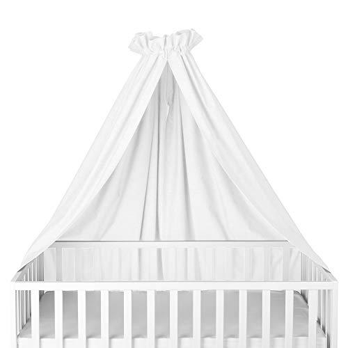 Sugarapple Himmel für Kinderbetten, Babybetten seitlich, quer verwendbar, Uni weiß, 100% Öko-Tex Baumwolle, 280x170 (BxH) cm