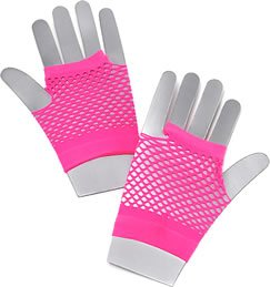 Fishnet Gloves. Short Neon Pink Accessory Fancy (80er Schmuck Jahre)