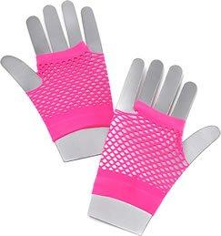 Neon Pink Fishnet Gloves - Low Price!