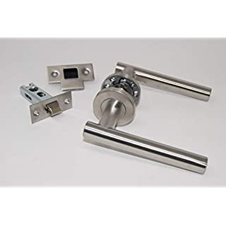 Straight T Bar Door Handle Pack (Internal Latch Set) Satin Stainless Steel