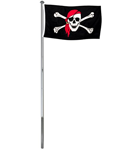 Brubaker Aluminium Fahnenmast Flaggenmast 6 m inklusive Deutschland Flagge + Piraten Flagge mit Bandana 150 x 90 cm und Bodenhülse