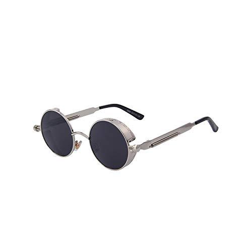 Sportbrillen, Angeln Golfbrille,Vintage Women Steampunk Sunglasses Brand Design Round Sunglasses Oculos De Sol UV400 C08 Silver Black