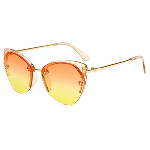 FGRYGF-eyewear Sport-Sonnenbrillen, Vintage Sonnenbrillen, Women Cat's Eye Sunglasses Ladies Half Frame Sun Glasses Men Metal Temple Sunglass Women Marine Lens Eyeglasses Orange Yellow