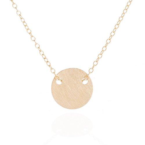 By Boe Feine Damen Halskette runder Anhänger Gold-Plättchen gebürstete rauhe Oberfläche in 925er Sterling Silber Gelbgold vergoldet