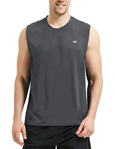 Roadbox Männer Sleeveless Workout Muskel Bodybuilding Tank Tops Shirts, Gray, 3XL -
