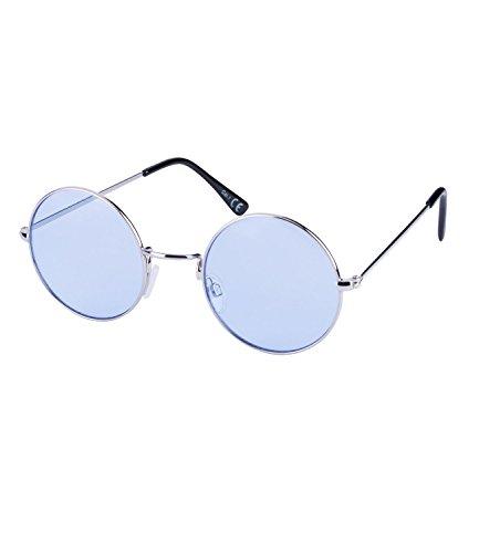 on Sonnenbrille mit blauen Gläsern (324-237) (Hippie Kostüm Sonnenbrille)