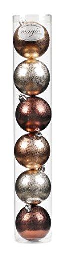 6 Christbaumkugeln 8cm Metallic ( kupfer - champagner - braun ) Kunststoff bruchfest // Dekokugeln Weihnachtskugeln Baumkugeln Baumschmuck Set Plastik PVC 80mm (Braun Weihnachtskugeln)